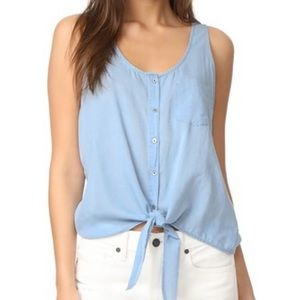 AG sleeveless chambray tank top, size L New
